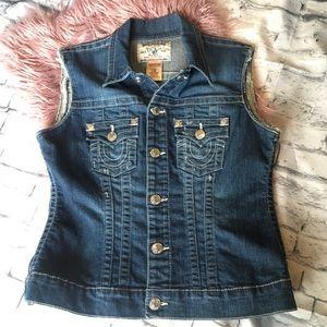 True Religion Vest Jacket Denim Jean Snap Pockets